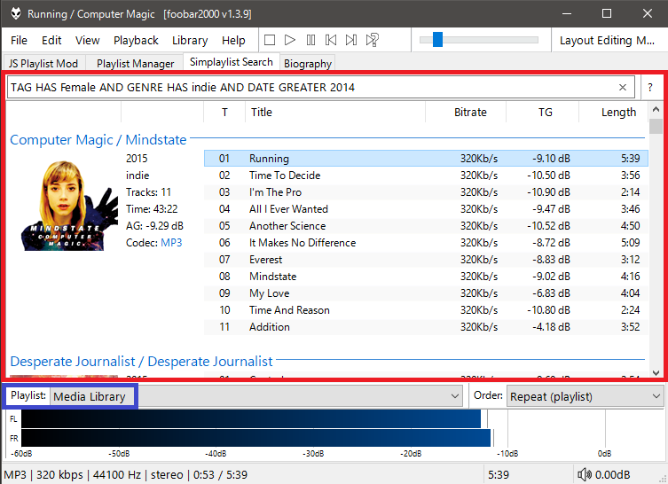 how to create playlist in foobar2000